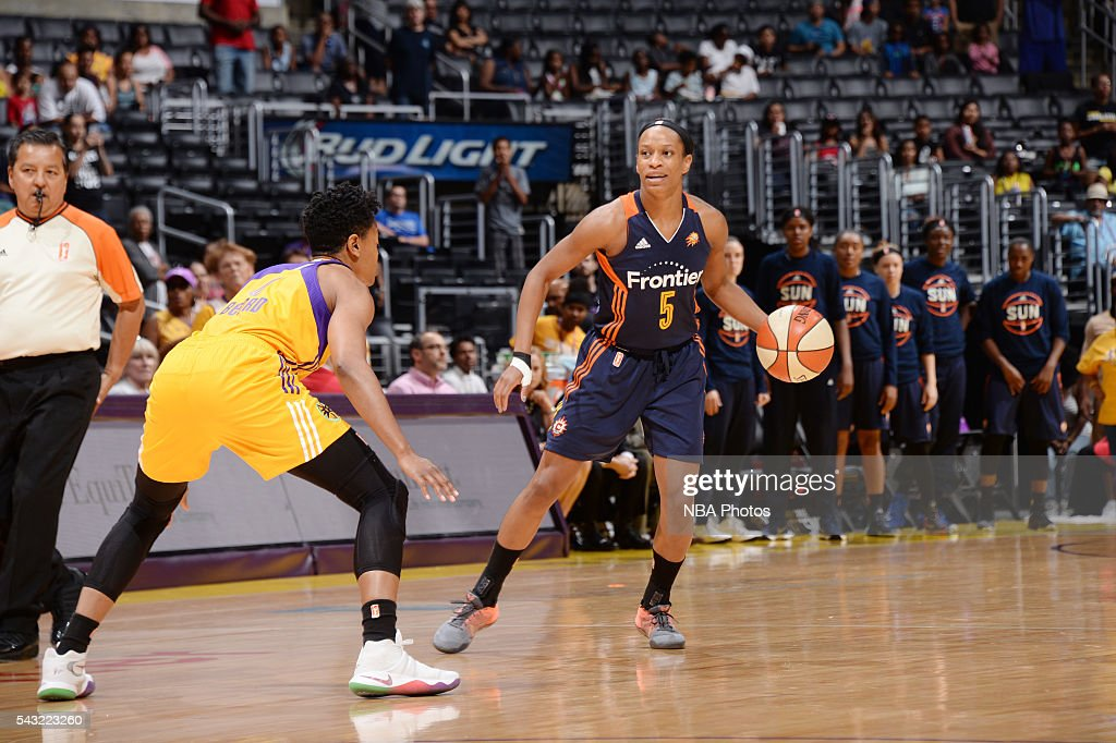 Jasmine Thomas #5 of the Connecticut Sun handles the ball against the Los Angeles Sparks on June 26, 2016 at STAPLES Center in Los Angeles, California.