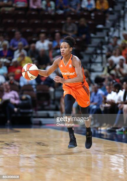 Jasmine Thomas of the Connecticut Sun handles the ball against the Dallas Wings on August 12 2017 at Mohegan Sun Arena in Uncasville CT NOTE TO USER...