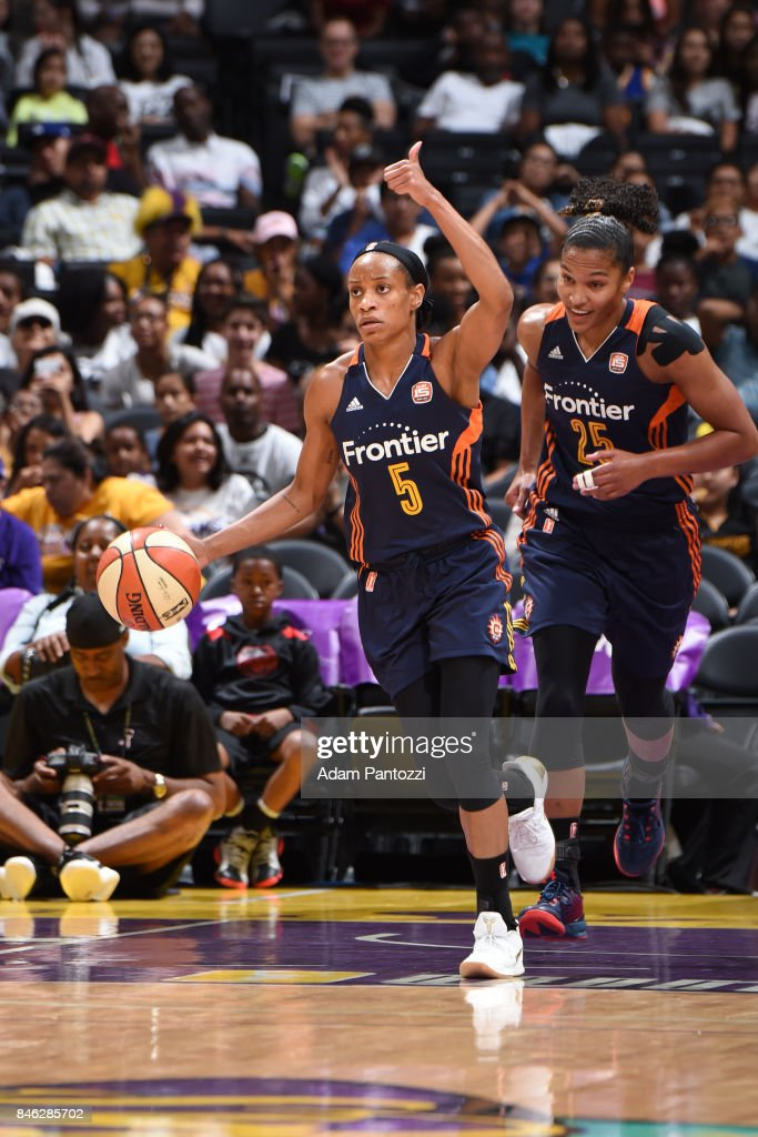 Jasmine Thomas #5 of the Connecticut Sun handles the ball during the game against the Los Angeles Sparks on September 3, 2017 at STAPLES Center in Los Angeles, California.