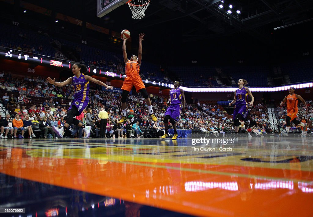 Jasmine Thomas #5 of the Connecticut Sun scores two points during the Los Angeles Sparks Vs Connecticut Sun, WNBA regular season game at Mohegan Sun Arena on May 26, 2016 in Uncasville, Connecticut.