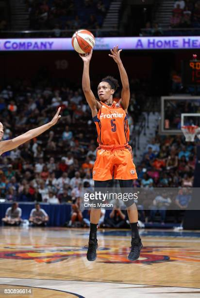 Jasmine Thomas of the Connecticut Sun shoots the ball against the Dallas Wings on August 12 2017 at Mohegan Sun Arena in Uncasville CT NOTE TO USER...