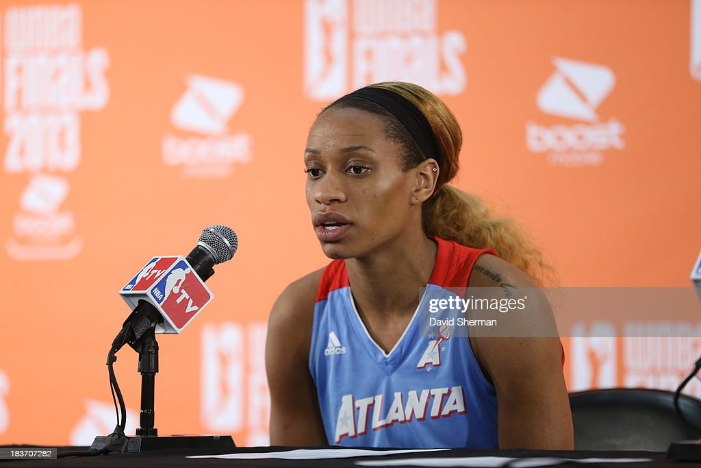 Jasmine Thomas #5 of the the Atlanta Dream talks to media after Game 2 of the 2013 WNBA Finals on October 8, 2013 at Target Center in Minneapolis, Minnesota.