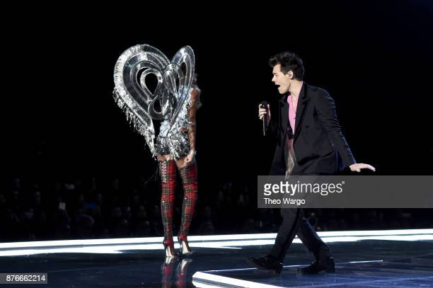 Jasmine Tookes and Harry Styles walk the runway during the 2017 Victoria's Secret Fashion Show In Shanghai at MercedesBenz Arena on November 20 2017...