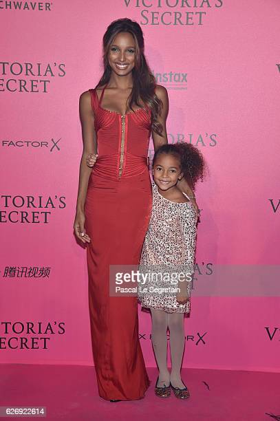Jasmine Tookes and her daughter attends the 2016 Victoria's Secret Fashion Show after party on November 30 2016 in Paris France