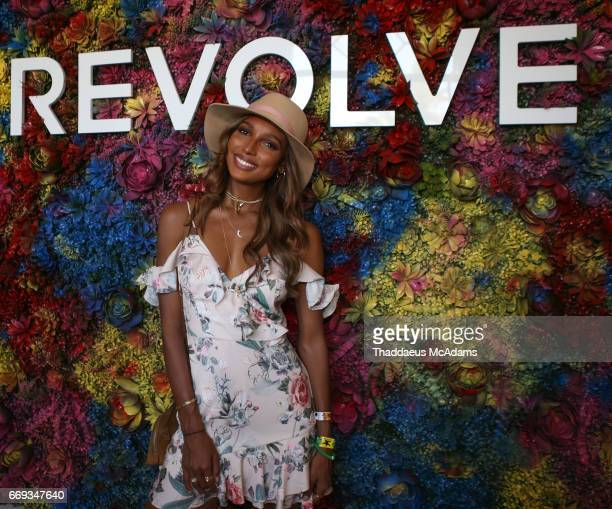 Jasmine Tookes arrive at the REVOLVE Desert House during Coachella on April 15 2017 in Palm Springs California on April 15 2017 in Palm Springs...
