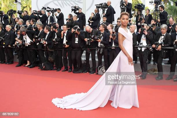 Jasmine Tookes attends the 'The Beguiled' screening during the 70th annual Cannes Film Festival at Palais des Festivals on May 24 2017 in Cannes...