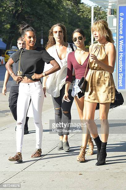 Jasmine Tookes Shanina Shaik Jennifer Cooper Hailey Baldwin seen out walking on September 07 2015 in New York City