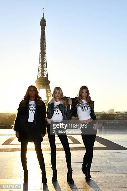 Jasmine TookesElsa Hosk and Josephine Skriver pose in front of the Eiffel Tower prior the 2016 Victoria's Secret Fashion Show on November 29 2016 in...