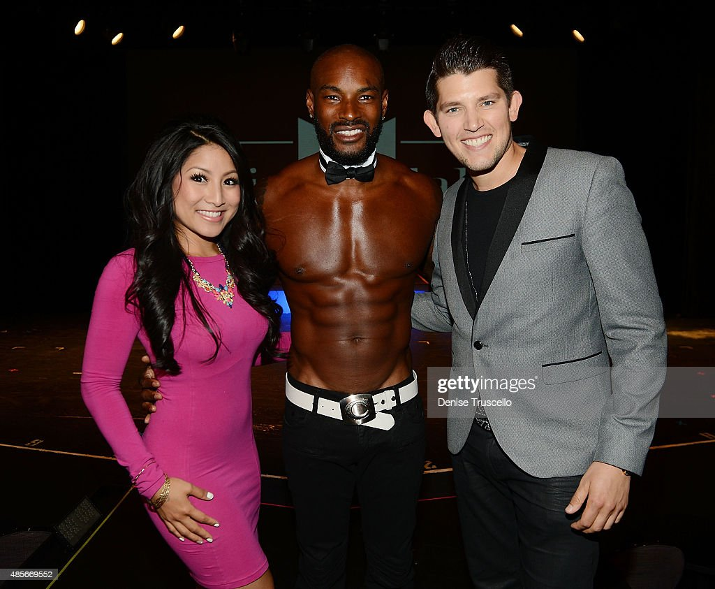 Jasmine Trias, Tyson Beckford and Ben Stone pose for a photo on Tyson Beckford's opening night with Chippendales at Rio All-Suite Hotel & Casino on August 28, 2015 in Las Vegas, Nevada. (Photo by Denise