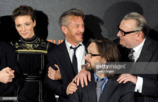 Jasmine Trinca Sean Penn Pierre Morel and Ray Winstone attend the World Premiere of 'The Gunman' at BFI Southbank on February 16 2015 in London...
