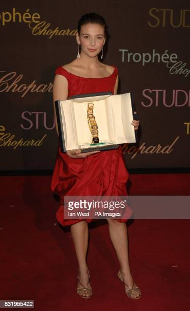 Jasmine Trinca wins the Best Young Actress Award at the Chopard Trophy party at the Carlton Hotel Cannes France