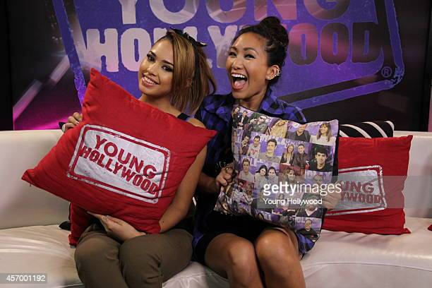 Jasmine Villegas and host Audrey Cleo at the Young Hollywood Studio on October 9 2014 in Los Angeles California