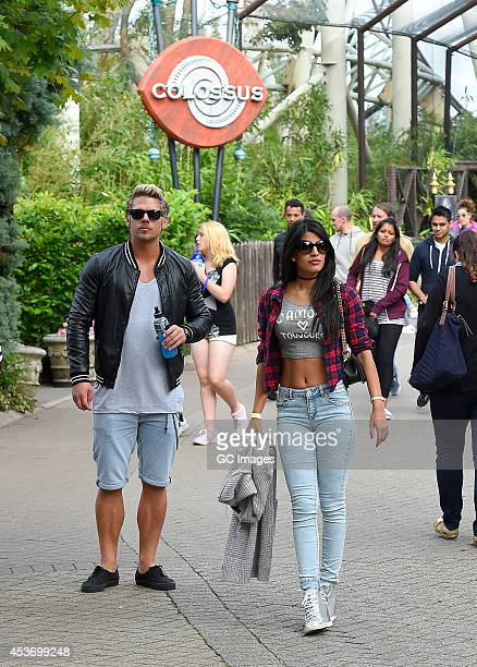 Jasmine Walia enjoys a day out at Thorpe Park with Ross Worswick and Joss Mooney from MTV's hit show Ex On The Beach on August 16 2014 in Chertsey...