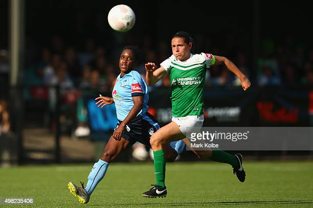 Jasmyne Spencer of Sydney FC and Ashleigh Sykes of United compete for the ball during the round six WLeague match between Sydney FC and Canberra...