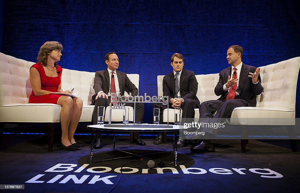 Jason Ader, chief executive officer and chief investment officer at Ader Investment Management LLC, from second left, Gregory Hall, senior managing director at Blackstone Alternative Asset Management, and Ted Seides, president and co-chief investment officer at Protege Partners LLC, participate in a panel discussion moderated by Katherine Burton, Bloomberg News hedge fund reporter, left, during the Bloomberg Hedge Funds Summit in New York, U.S., on Wednesday, December 5, 2012. The Bloomberg Hedge Funds Summit convenes managers and investors to discuss the impact of the European debt crisis on the global markets and break down the fundamentals driving volatility in the equity markets. Photographer: Michael Nagle/Bloomberg via Getty Images