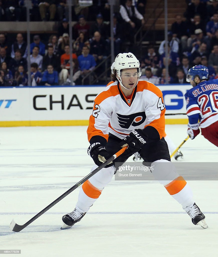 <a gi-track='captionPersonalityLinkClicked' href=/galleries/search?phrase=Jason+Akeson&family=editorial&specificpeople=5349044 ng-click='$event.stopPropagation()'>Jason Akeson</a> #42 of the Philadelphia Flyers skates against the New York Rangers in Game One of the First Round of the 2014 NHL Stanley Cup Playoffs at Madison Square Garden on April 17, 2014 in New York City. The Rangers defeated the Flyers 4-1.
