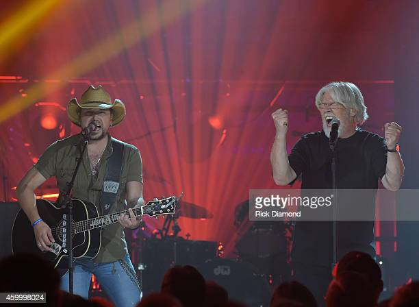 Jason Aldean and Bob Seger perform during the taping of CMT Crossroads Bob Seger And Jason Aldean at The Factory on October 28 2014 in Franklin...