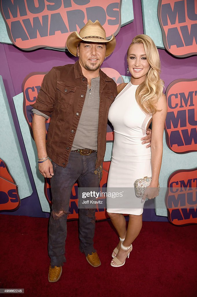 Jason Aldean and Brittany Kerr attend the 2014 CMT Music awards at the Bridgestone Arena on June 4 2014 in Nashville Tennessee