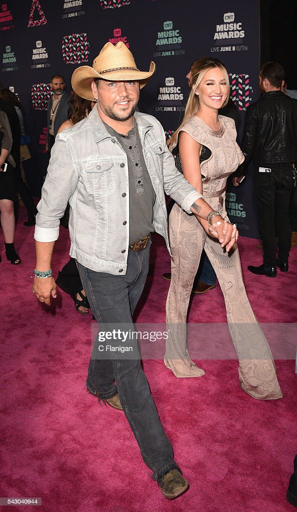 Jason Aldean and Brittany Kerr attend the 2016 CMT Music awards at the Bridgestone Arena on June 8 2016 in Nashville Tennessee