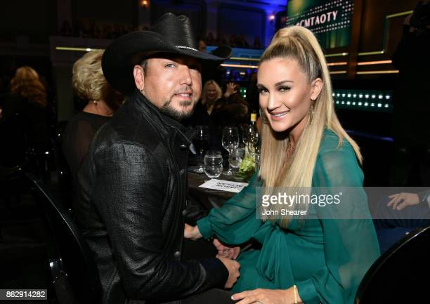 Jason Aldean and Brittany Kerr attend the 2017 CMT Artists Of The Year on October 18 2017 in Nashville Tennessee
