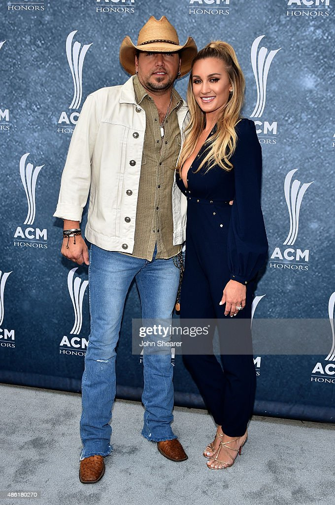Jason Aldean and Brittany Kerr attend the 9th Annual ACM Honors at the Ryman Auditorium on September 1 2015 in Nashville Tennessee
