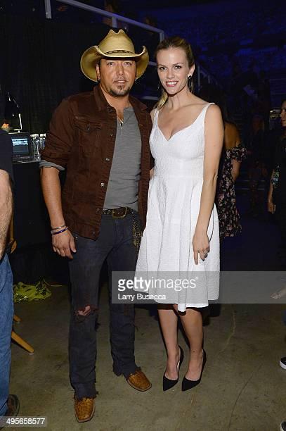 Jason Aldean and Brooklyn Decker attend the 2014 CMT Music awards at the Bridgestone Arena on June 4 2014 in Nashville Tennessee