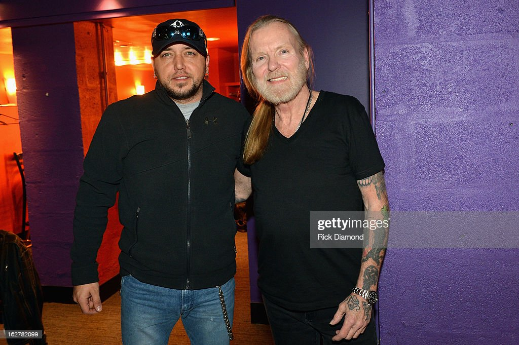 Jason Aldean and Gregg Allman attend the All For the Hall New York concert benefiting the Country Music Hall of Fame at Best Buy Theater on February 26, 2013 in New York City.