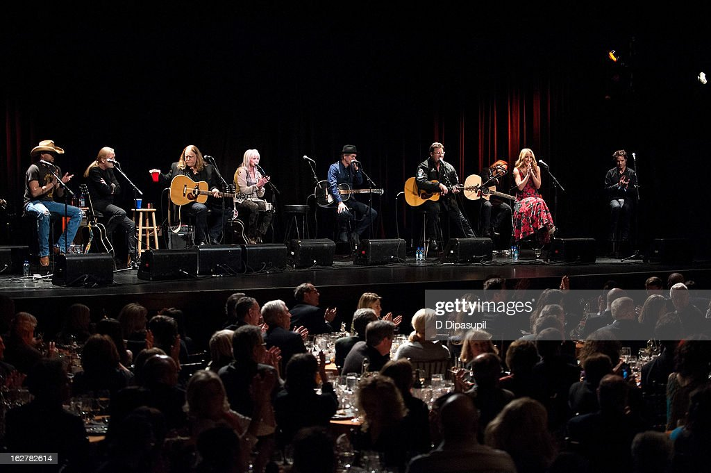 Jason Aldean, Gregg Allman, Warren Haynes, Emmylou Harris, Rodney Crowell, Vince Gill, Ashley Monroe and Pat Monahan perform on stage during the All For The Hall New York concert benefiting the Country Music Hall Of Fame at Best Buy Theater on February 26, 2013 in New York City.