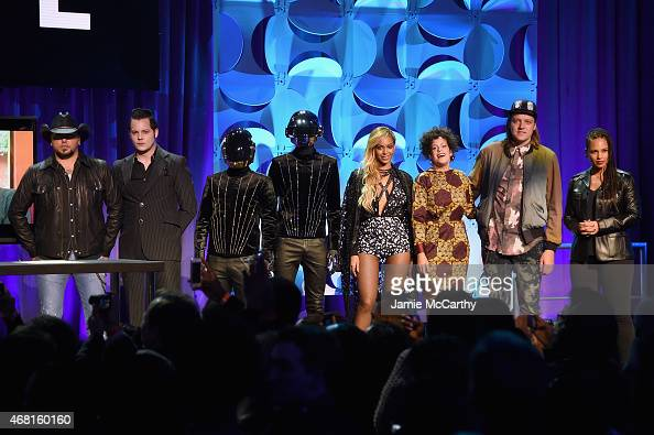 Jason Aldean Jack White Daft Punk Beyonce Regine Chassagne Win Butler and Alicia Keys onstage at the Tidal launch event #TIDALforALL at Skylight at...