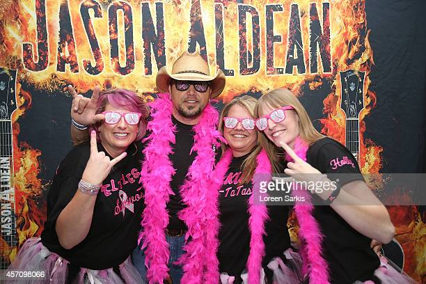 Jason Aldean meets and greet his fans before his Ninth Annual 'Concert For The Cure' at The Palace of Auburn Hills on October 11 2014 in Auburn Hills...