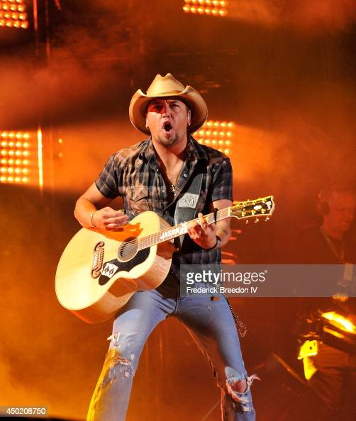 Jason Aldean performs at LP Field at the 2014 CMA Festival on June 6 2014 in Nashville Tennessee