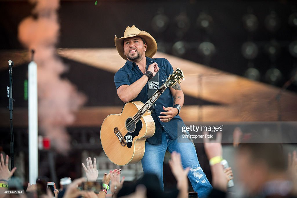 Jason Aldean performs during Kenny Chesney's The Big Revival Tour Jason Aldean's Burn It Down 2015 at Rose Bowl on July 25 2015 in Pasadena California