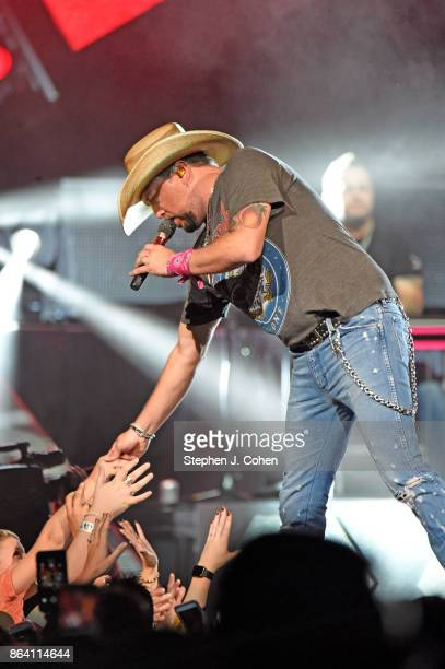 Jason Aldean performs during the 12th Annual Concert For The Cure at KFC YUM Center on October 20 2017 in Louisville Kentucky