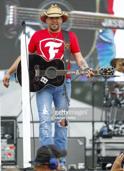 Jason Aldean performs during 'The Night Before Concert' at the Indianapolis Motor Speedway on May 24 2014 in Indianapolis Indiana