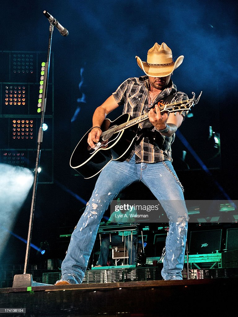 Jason Aldean performs during the Night Train Tour 2013 at Wrigley Field on July 20, 2013 in Chicago.