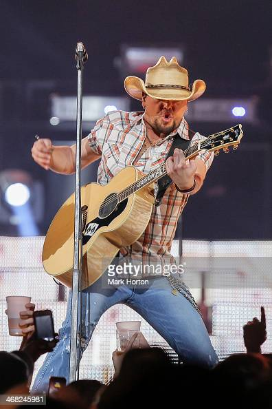 Jason Aldean performs live at Canadian Tire Centre on February 9 2014 in Kanata Canada
