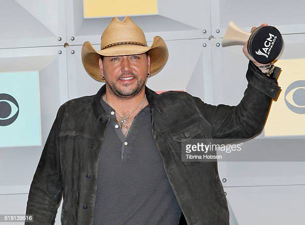 Jason Aldean poses in the press room during the 51st Academy of Country Music Awards at MGM Grand Garden Arena on April 3 2016 in Las Vegas Nevada