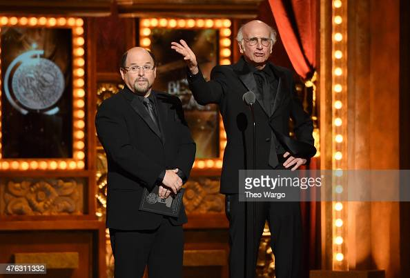 Jason Alexander and Larry David speak onstage during the 2015 Tony Awards at Radio City Music Hall on June 7 2015 in New York City