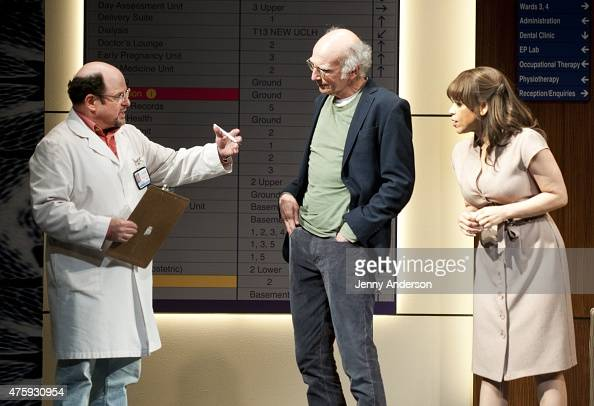 Jason Alexander surprises Larry David and Rosie Perez on stage during 'Fish in the Dark' at the Cort Theatre on June 4 2015 in New York City