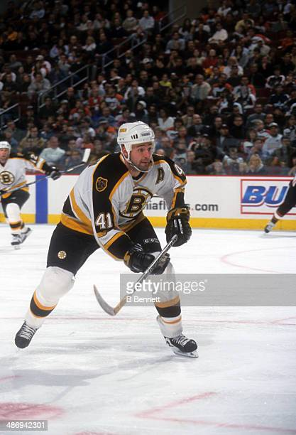 Jason Allison of the Boston Bruins skates on the ice during an NHL game against the Philadelphia Flyers on October 7 2000 at the Wells Fargo Center...