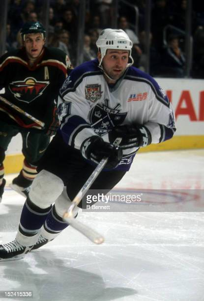 Jason Allison of the Los Angeles Kings skates on the ice during an NHL game against the Minnesota Wild on January 24 2002 at the Staples Center in...