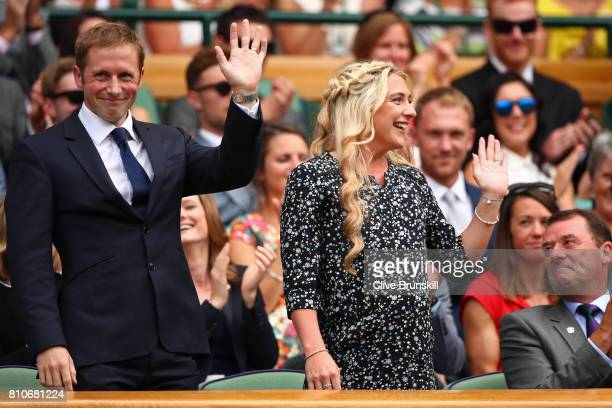 Jason and Laura Kenny are introduced to the crowd from the centre court royal box on day six of the Wimbledon Lawn Tennis Championships at the All...
