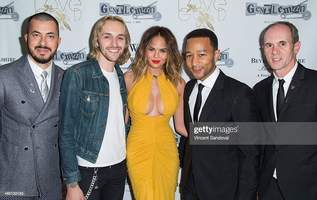 Jason Arasheben, singer/songwriter Isaiah Garnica, model Christine Teigen, singer John Legend and David Thomas attend Jason Of Beverly Hills' Pre-GRAMMY cocktail hour and salute to fashion icon David Thomas' Gentleman Collection at The Blvd on January 25, 2014 in Los Angeles, California.