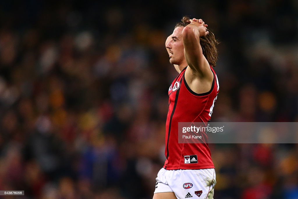 Jason Ashby of the Bombers looks on during the round 15 AFL match between the West Coast Eagles and the Essendon Bombers at Domain Stadium on June 30, 2016 in Perth, Australia.