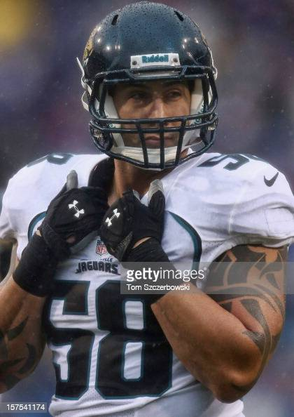 Jason Babin of the Jacksonville Jaguars during an NFL game against the Buffalo Bills at Ralph Wilson Stadium on December 2 2012 in Orchard Park New...