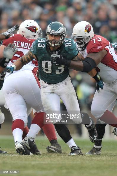 Jason Babin of the Philadelphia Eagles runs during the game against the Arizona Cardinals at Lincoln Financial Field on November 13 2011 in...