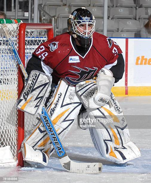 Jason Bacashihua of the Lake Erie Monsters defends the goal during game action against the Toronto Marlies November 30 2007 at the Ricoh Coliseum in...