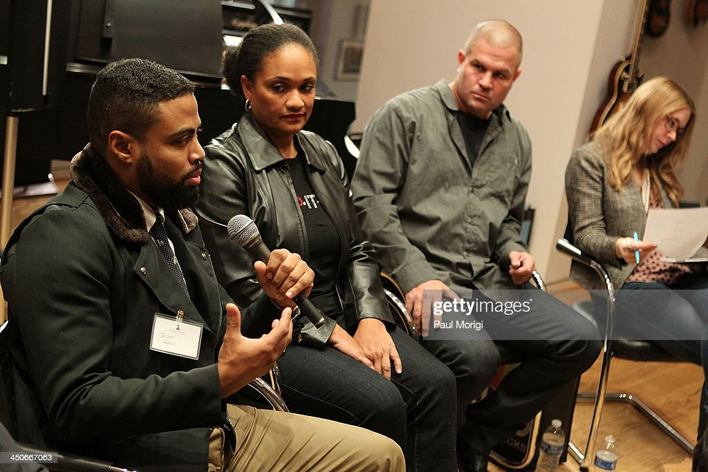 Jason Bass, Multicultural Sales Representative at MillerCoors, participates in a panel of brand representatives and artists to discuss the growing affiliations between bands and brands at Business, Beats and Inspiration: Bands & Brands at The Gibson Guitar Center on November 19, 2013 in Washington, DC.