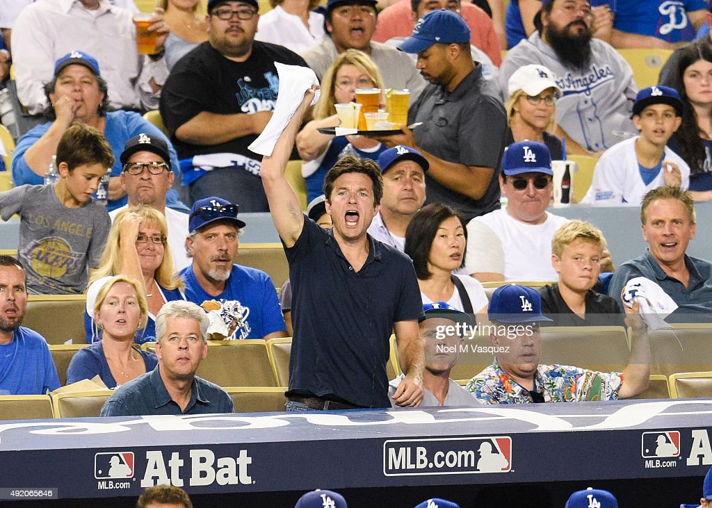 Jason Bateman and Flea attend game one of the National League Division Series between the Los Angeles Dodgers and the New York Mets at Dodger Stadium on October 9, 2015 in Los Angeles, California.