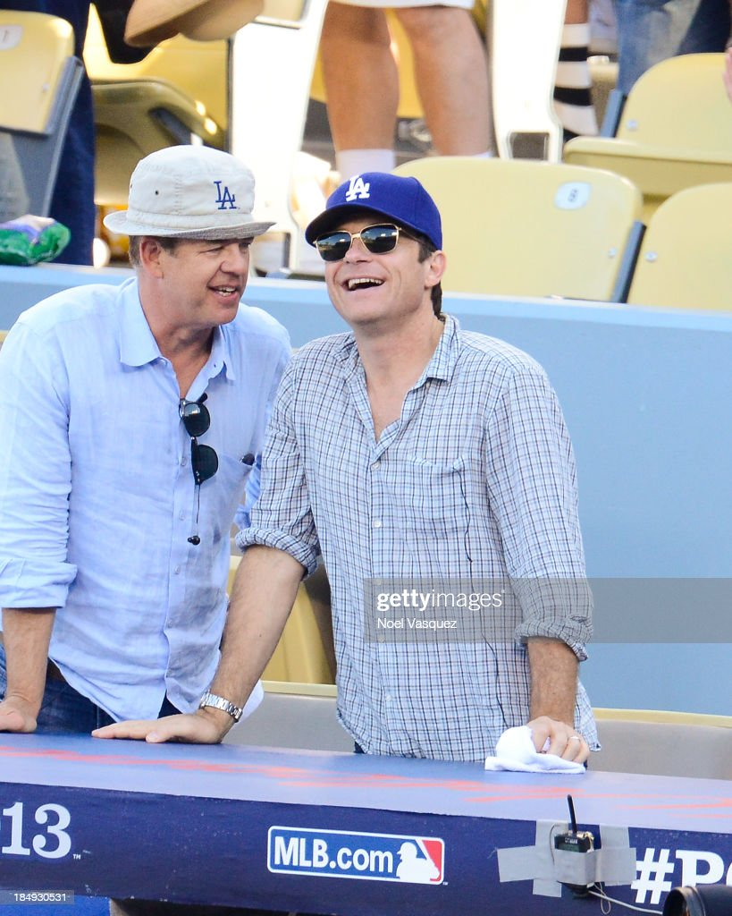 <a gi-track='captionPersonalityLinkClicked' href=/galleries/search?phrase=Jason+Bateman&family=editorial&specificpeople=204774 ng-click='$event.stopPropagation()'>Jason Bateman</a> attends Game Five of the National League Championship Series at Dodger Stadium on October 16, 2013 in Los Angeles, California.